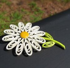CORO signed Daisy Flower white green yellow enamel large filigree BROOCH