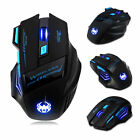 New Zelotes Pro 2400 DPI 7 Button USB LED Light Optical Wireless Gaming Mouse