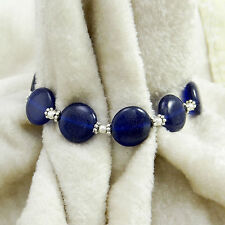 Silvertone Beautiful Lapis Lazuli Stone Metal Bracelet Women Fashion Jewelry
