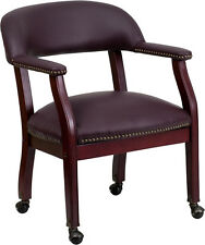 Lot of 10 Burgundy Top Grain Leather Traditional Poker Table Chairs