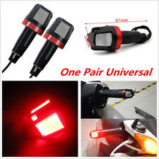 One Pair Motorcycle Handlebar Turn Signal Grip Bar End Red LED Light For Ducati