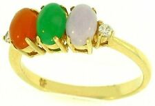 Natural Multi-Color Jadeite Jade Oval 3 Stone Ring w/ Diamond Accents, Size 7