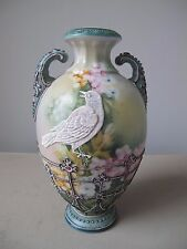 Exceptional Antique Nippon Moriage Bird Vase Blue Maple Leaf Back Stamp