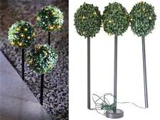 SET of 3 SOLAR POWERED TOPIARY BALL GARDEN LIGHTS STAKES DUAL FUNCTION LED NEW