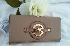 NWT MICHAEL Michael KORS Stockard Carry All Flap Wallet Leather Dk Dune