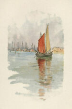 "Ross Sterling Turner antique chromolithograph ""Wood-Boats and Dogana"""