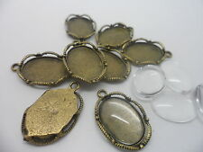 Antique Bronze Pendant Making Set,10 settings.26x17mm,10 Cabochons,tray 18x13mm