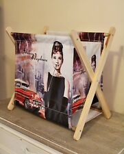 Audrey HEPBURN tela e legno magazine holder Rack Storage Box GLAMOUR Paris