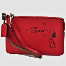 NWT Coach X Peanuts Snoopy Leather Corner Zip Wristlet 65193 Silver/Red Limited