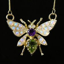 SUFFRAGETTE BUTTERFLY PENDANT & NECKLACE - PERIDOT OPAL AND AMETHYST