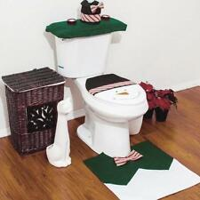 New Happy Snowman Toilet Seat Cover+Rug Bathroom Set Christmas Home Decoration