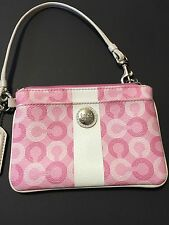 AUTH COACH Pink White Coated Canvas CC Monogram Silver Tone Wristlet Wallet