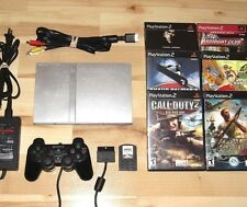 Playstation 2 Slim Silver Console System Lot PS2 Bundle 6 Games SCPH-79001 Sony