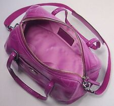 Coach Alex Stitched Patent Leather Satchel Shoulder Purse 14799 Berry - RARE