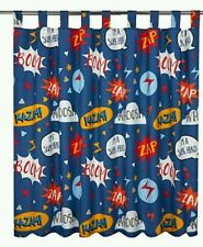 Kids/boys superhero curtains Tab Top Lined with tie-bks..66w x 54d super curtain