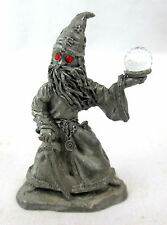 Miniature Spoontiques Pewter Wizard w Crystal Ball Sword & Red Eyes MR972
