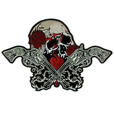 LARGE SKULL GUNS ROSES HEART LOVE KLILLS TATTOO EMBROIDERED LEATHER PATCH 12""