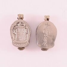 Thick Tibetan Delicately Carved Kalachakra Holy Mantra Ghau Prayer Box Pendant