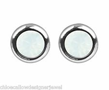 October Birthstone 4mm White Opal Crystal Gem Ear Studs Earrings + gift bag