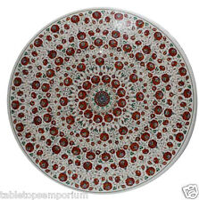 4'x4' Marble Dining Side Table Top Semi Inlay Stone Mosaic Decor Christmas Arts