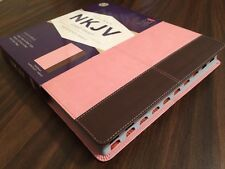 NKJV Giant Print Ref Bible Indexed - $49.99 Retail - Pink / Brown Leathertouch