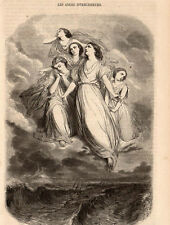 LES ANGES INTERCESSEURS STAAL ANGELS IMAGE 1855 OLD PRINT