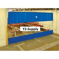NEW! Blue Curtain Wall Partition With Clear Vision Strip 6 x 8!!
