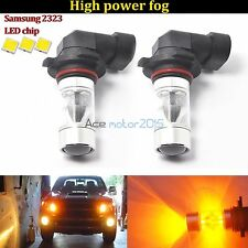 2x H10 9145 LED Fog Lights 60W Samsung 2323 Projector Lamp 3000K Amber DRL Bulbs