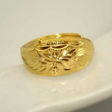 24K Yellow Gold Filled Men/Women Carved Ring Adjust Wedding 8MM GF Charm Jewelry