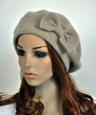 Cute Bow Winter Wool Acrylic Fashion Women's Hat Beanie Ski Beret Khaki Beige