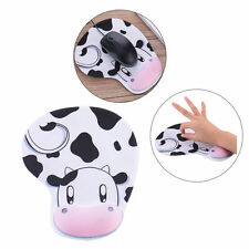 Fashion Anti-Slip Cow Pattern Mouse Mat with Gel Wrist Pad Support for PC Laptop