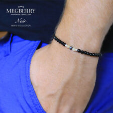 MEGBERRY Men's Gemstone 925 Sterling Silver Stretch Bracelet Beads UK Seller