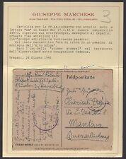 POSTA MILITARE 1945 Franchigia tedesca da Bolzano a Mantova (FMB) Certificato