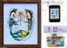 Mirabilia Counted Cross Stitch Chart with Embellishment Pack TWIN MERMAIDS #141