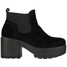WOMENS GIRLS CHELSEA CHUNKY SOLE ANKLE CASUAL SHOES BOOTS SIZES UK 10-8