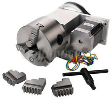 NO VAT A 4th Axis CNC Router Rotational Hollow Shaft Φ100MM 3 Jaw Rotary Table