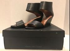 STEVEN Madden Laynna WOMEN'S SIZE 10 Black Leather Wedge Sandals Shoes ZE-106