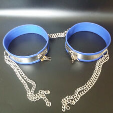 full chastity belt thigh bands BLUE with chains, 40 - 45 cms, stainless steel