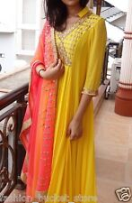 New Attractive Yellow Real Mirror Work Salwar Suit
