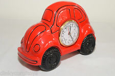 CERAMIC CLOCK VW VOLKSWAGEN BEETLE KAFER RED NEAR MINT RARE SELTEN