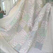 Girls Double Bed Quilt Shabby Purple White Pink Mint Blue Kids Patchwork Chic Nw