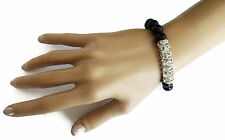 Beautiful  Black Glass Bead Bracelet with crystals Diamante Stretchy