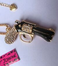 """Cutest Darn Six Shooter in the West Crystal Gun n Gold Tone Pendant Necklace 26"""""""