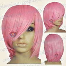 "16"" Hi_Temp Light pink Long Layer Bob Cut  Short Cosplay DNA Wigs 65LLP"