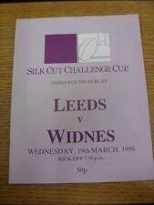 19/03/1986 Rugby League Programme: Leeds v Widnes [Challenge Cup] . Thanks for v