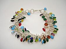 """AB Multi-Gem Turquoise Yellow Agate Red Coral Bracelet Wrist Chain Silver 8-8.5"""""""