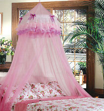 Pink Princess Bowknot Decorated Mosquito Fly Canopy Net Double King Size Netting