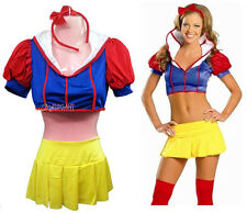 Adult Lady Women Snow White Fairytale Fantasy Uniform Costume Halloween Dress
