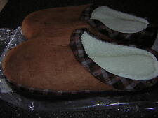 NIB New Men's Brown Slippers House shoes -Size 9 10  XL - Indoor Outdoor so