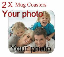 2 X Personalized Custom Coaster with your photo Made from wood. FREE SHIPPING